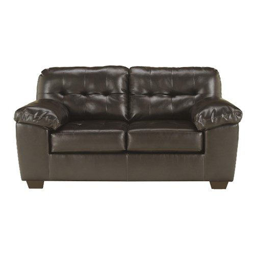 Signature Design by Ashley Furniture Alliston DuraBlend® - Chocolate Contemporary Loveseat w/ Pillow Arms
