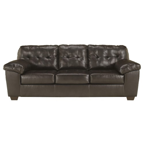 Signature Design by Ashley Furniture Alliston DuraBlend® - Chocolate Contemporary Sofa w/ Pillow Arms