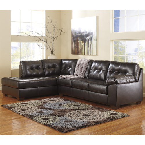 Signature Design by Ashley Alliston DuraBlend® - Chocolate Sectional w/ Left Chaise & Tufting