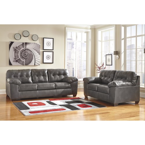 Signature Design by Ashley Furniture Alliston DuraBlend® - Gray Stationary Living Room Group