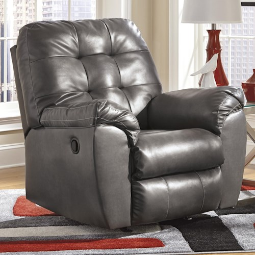 Signature Design by Ashley Alliston DuraBlend® - Gray Rocker Recliner w/ Pillow Arms