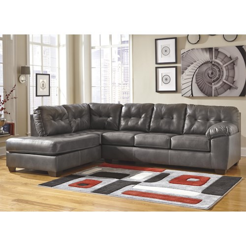 Signature Design by Ashley Furniture Alliston DuraBlend® - Gray Sectional w/ Left Chaise & Tufting
