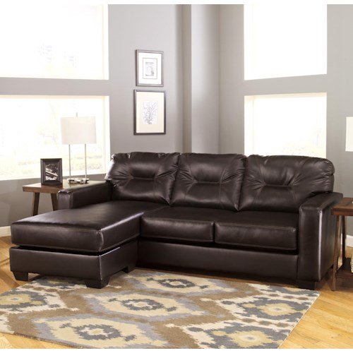 Signature Design by Ashley Alluvia Contemporary Faux Leather Sofa Chaise with Reversible Chaise