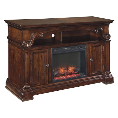 Signature Design by Ashley Alymere Traditional Large TV Stand with Fireplace Insert