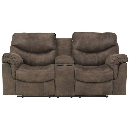Signature Design by Ashley Alzena - Gunsmoke Double Reclining Loveseat with Console