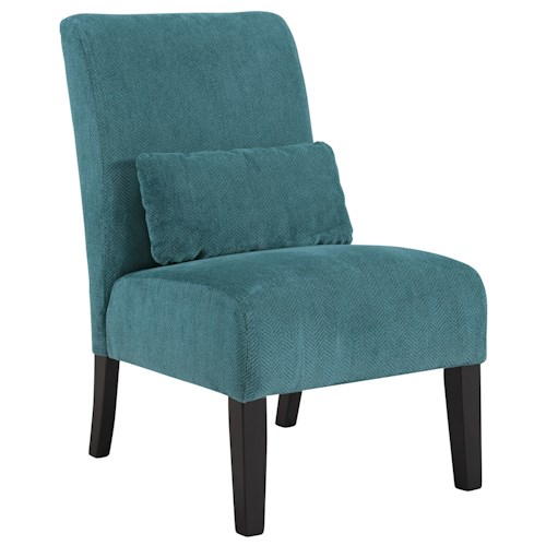 Signature Design by Ashley Annora - Teal Contemporary Armless Accent Chair with Pillow