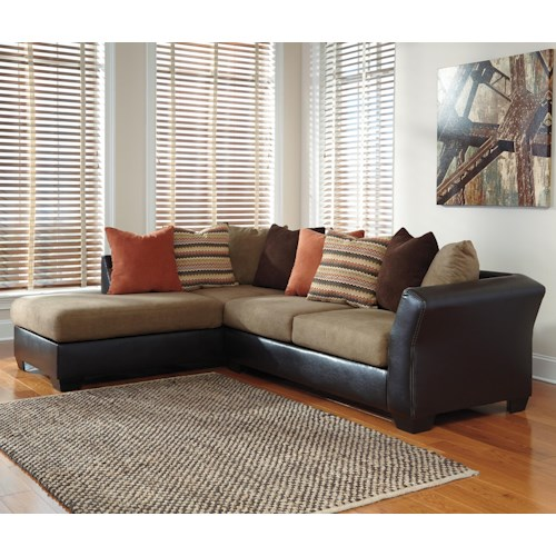 Signature Design by Ashley Armant Contemporary 2-Piece Sectional with Left Chaise with Loose Back Pillows