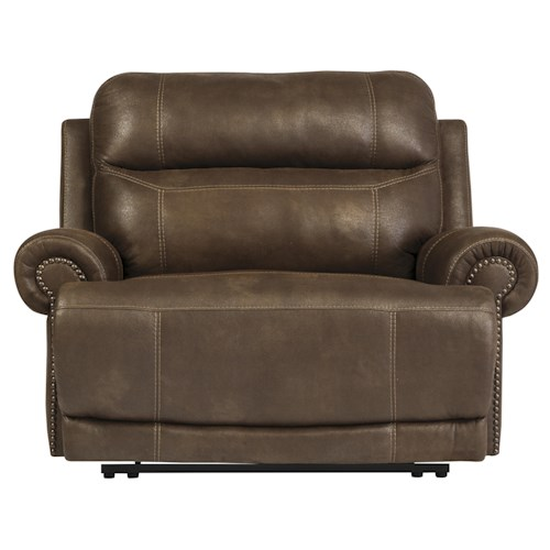 Signature Design by Ashley Austere - Brown Zero Wall Recliner with Rolled Arms and Nailhead Trim