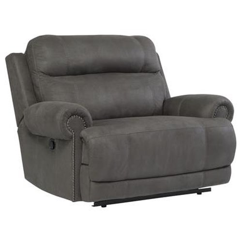 Signature Design by Ashley Austere - Gray Zero Wall Recliner with Rolled Arms and Nailhead Trim