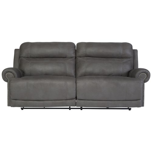 Signature Design by Ashley Austere - Gray 2 Seat Reclining Sofa with Rolled Arms and Nailhead Trim
