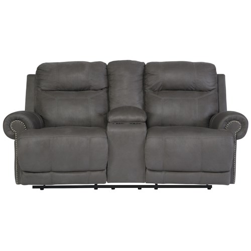 Signature Design by Ashley Austere - Gray Double Reclining Loveseat w/ Console & Power