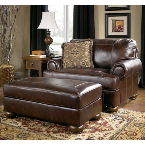 Signature Design by Ashley Axiom - Walnut Traditional Upholstered Chair-and-a-Half and Ottoman with Bun Wood Feet