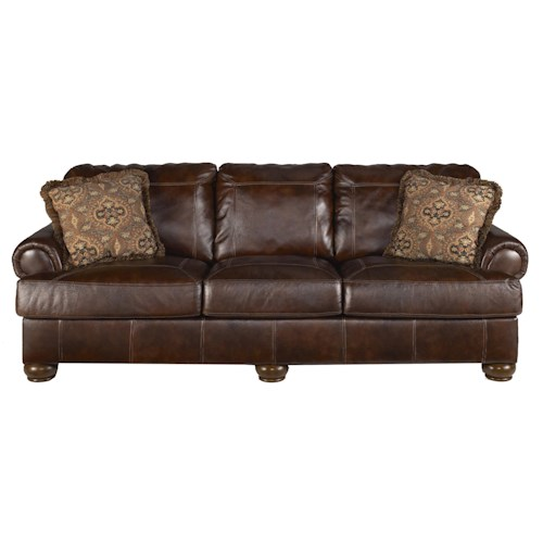 Signature Design by Ashley Axiom - Walnut Traditional Stationary Sofa with Bun Wood Feet