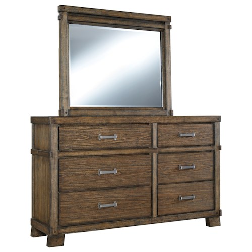 Signature Design by Ashley Leystone Comtemporary Dresser with Beveled Mirror
