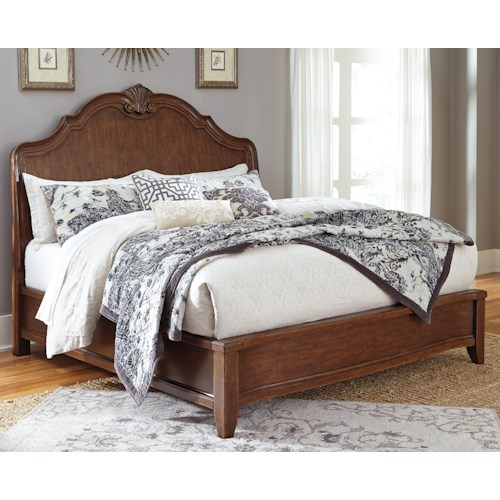 Signature Design by Ashley Balinder Transitional King Bed with Shaped Sleigh Headboard and Low-Profile Footboard