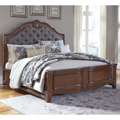 Signature Design by Ashley Balinder Transitional King Bed with Upholstered Panel Headboard