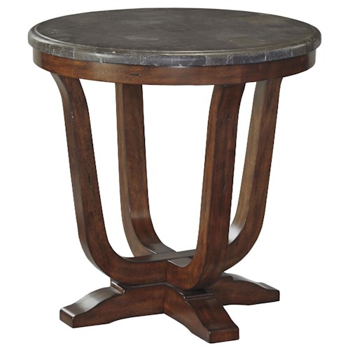 Signature Design by Ashley Balinder Transitional Round End Table with Bluestone Top