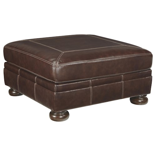 Signature Design by Ashley Banner Square Leather Match Oversized Accent Ottoman with Bun Feet