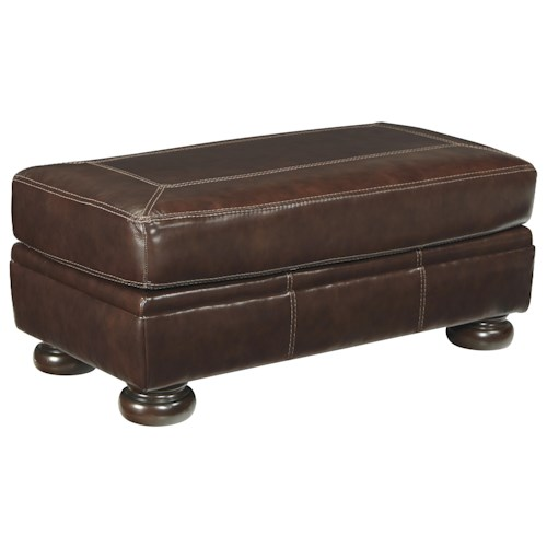 Signature Design by Ashley Banner Rectangular Leather Match Ottoman with Bun Feet