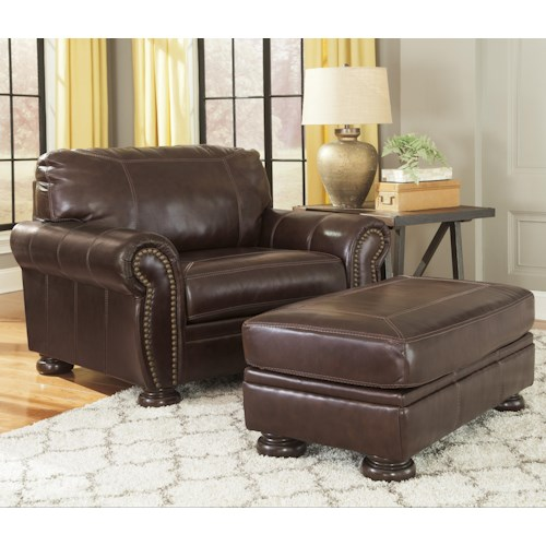Signature Design by Ashley Banner Traditional Leather Match Chair and a Half & Ottoman
