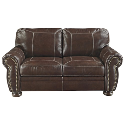 Signature Design by Ashley Banner Traditional Leather Match Loveseat with Rolled Arms, Nailhead Trim, & Bun Feet