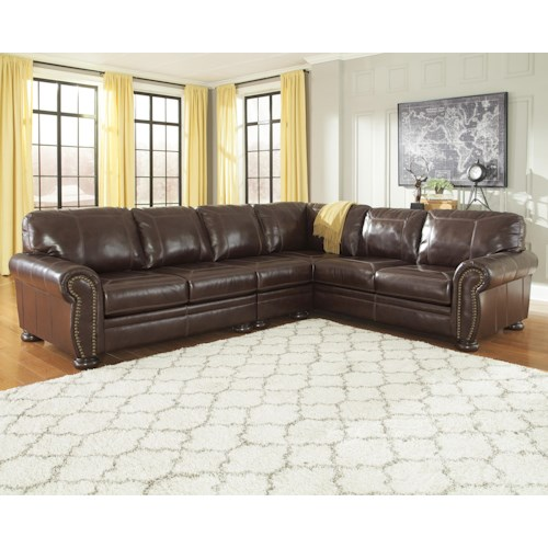 Signature Design by Ashley Francesco 3-Piece Leather Match Sectional with Rolled Arms, Nailhead Trim, & Bun Feet