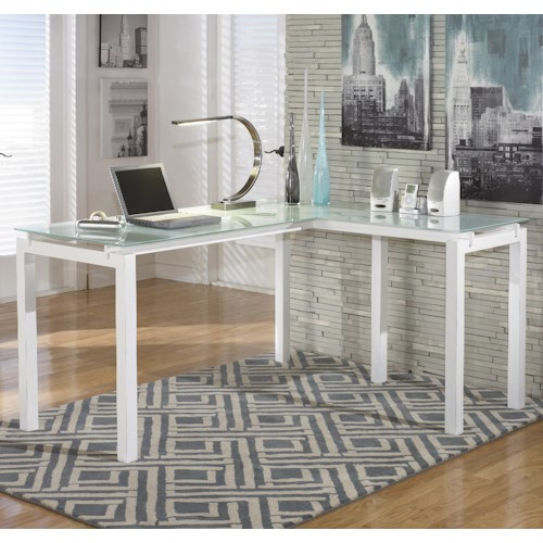 Signature Design by Ashley Brizio White Finish Metal L-Desk with Frosted Glass Top