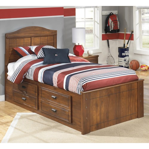 Signature Design by Ashley Barchan Twin Panel bed with underbed storage on one side
