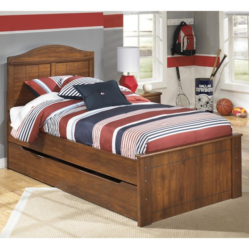 Signature Design by Ashley Barchan Twin Panel Bed with Trundle Under Bed Storage Unit