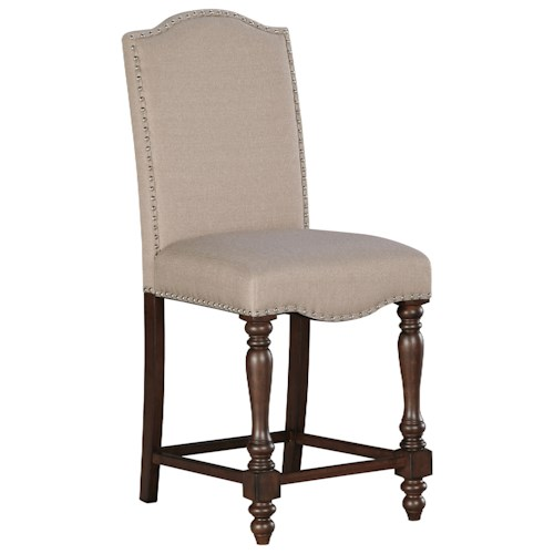 Signature Design by Ashley Baxenburg Traditional Upholstered Barstool with Turned Legs & Nailhead Trim