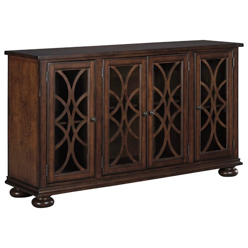 Signature Design by Ashley Baxenburg Traditional Dining Room Server with Glass/Wood Grille Doors
