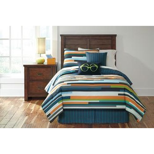 Signature Design by Ashley Bedding Sets Twin Seventy Stripe Top of Bed Set