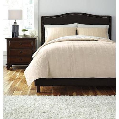Signature Design by Ashley Bedding Sets Queen Coverlet Beige Comforter Set
