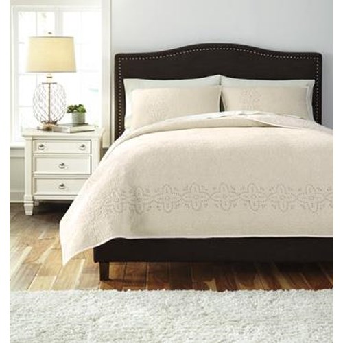 Signature Design by Ashley Bedding Sets Queen Stitched Off White Comforter Set