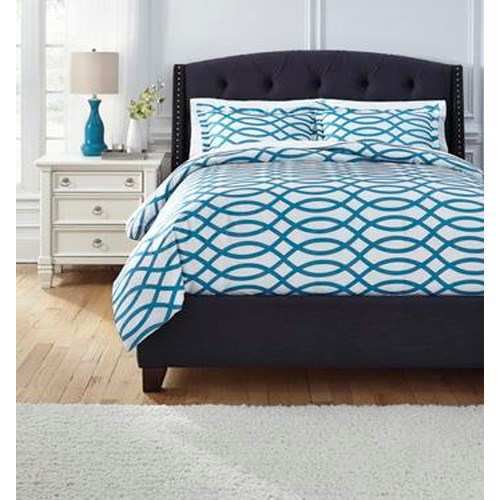 Signature Design by Ashley Bedding Sets Queen Leander Turquoise Duvet Set