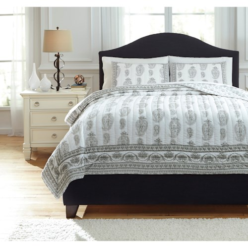 Signature Design by Ashley Bedding Sets King Almeda Gray Coverlet Set