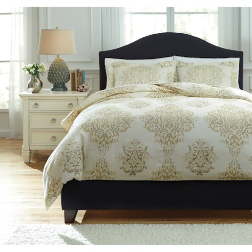 Signature Design by Ashley Bedding Sets King Fairholm Natural Duvet Cover Set