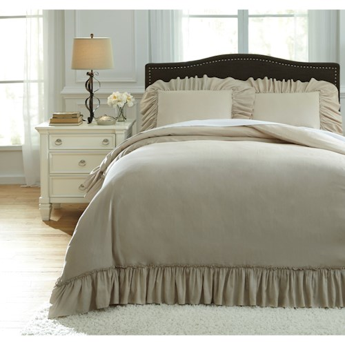Signature Design by Ashley Bedding Sets Queen Clarksdale Natural Duvet Covet Set