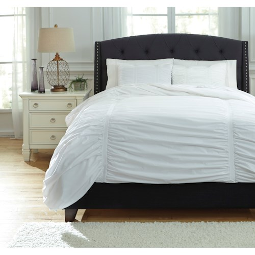 Signature Design by Ashley Bedding Sets Queen Limera White Duvet Cover Set