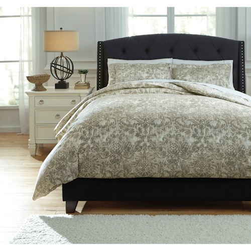 Signature Design by Ashley Bedding Sets Queen Kelby Natural Duvet Cover Set