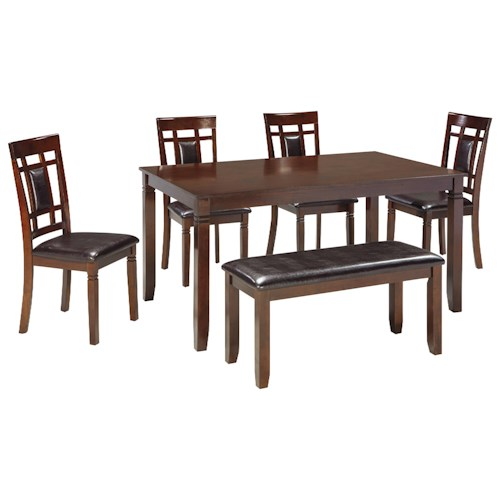 Signature Design by Ashley Bennox Contemporary 6-Piece Dining Room Table Set with Bench
