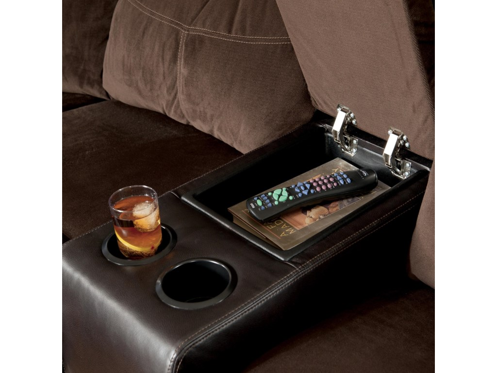 Built-In Cup-Holders and a Storage Space in the Sectional's Loveseat Creates At-Hand Convenience