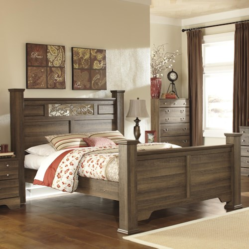 Signature Design by Ashley Allymore King Poster Bed with Scrolled Accents