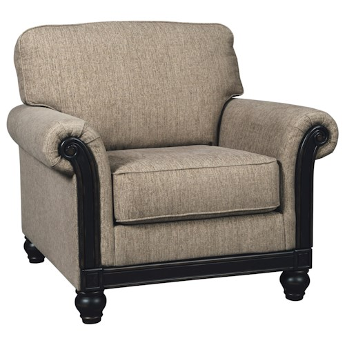 Signature Design by Ashley Blackwood Transitional Chair with Rolled Arms & Showood Trim in Dark Finish