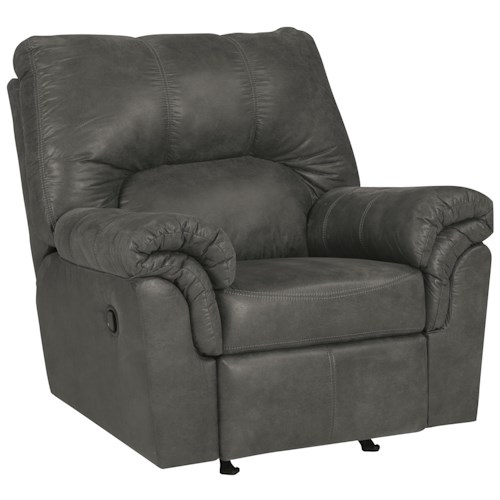 Signature Design by Ashley Bladen Faux Leather Rocker Recliner with Pillow Arms