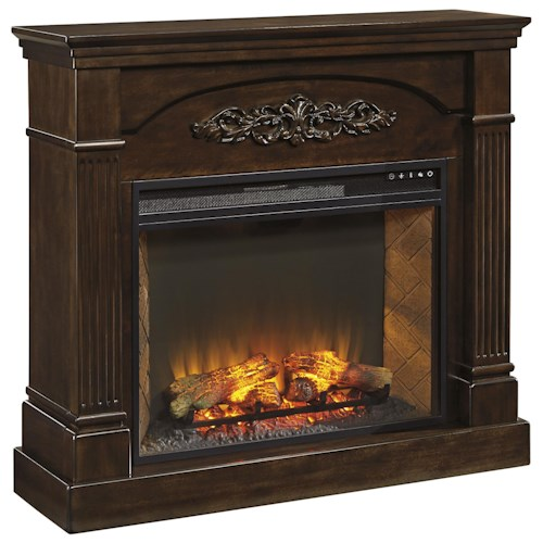 Signature Design by Ashley Boddew Dark Brown Finish Traditional Fireplace Mantel with Electric Fireplace & Remote