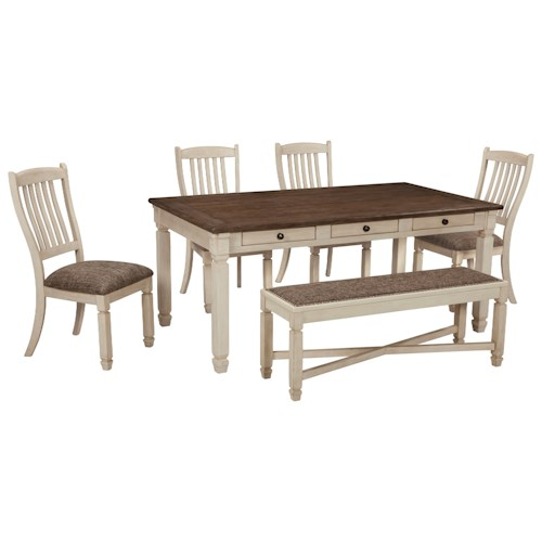 Signature Design by Ashley Bolanburg Relaxed Vintage Table and Chair Set with Bench