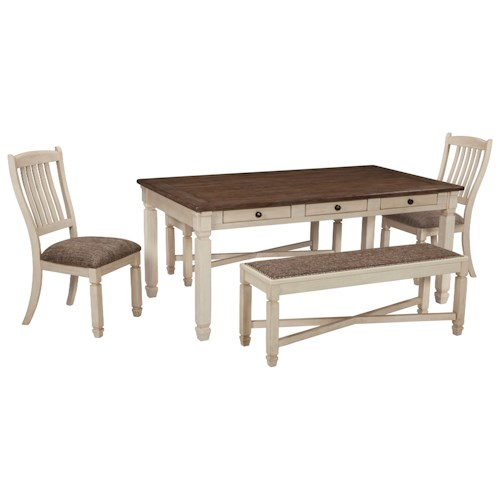 Signature Design by Ashley Bolanburg Relaxed Vintage Table and Chair Set with Two Benches