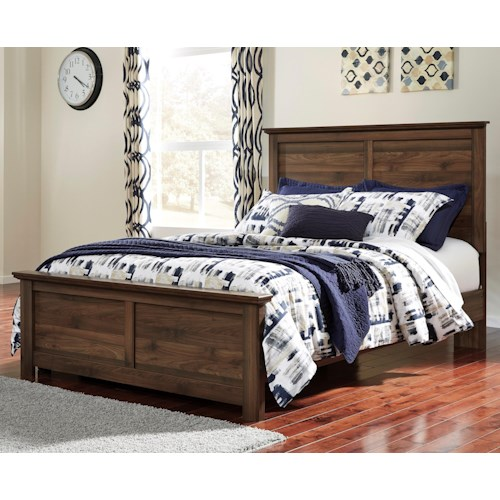 Signature Design by Ashley Burminson Queen Panel Bed with Simple Moulding