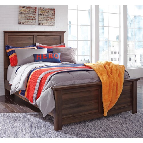 Signature Design by Ashley Burminson Full Panel Bed with Simple Moulding